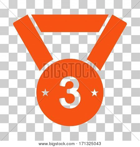 Third Medal icon. Vector illustration style is flat iconic symbol orange color transparent background. Designed for web and software interfaces.