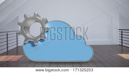 Digitally generated image of gear by cloud shape against white room 3d