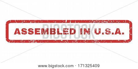 Assembled In U.S.A. text rubber seal stamp watermark. Caption inside rectangular banner with grunge design and dirty texture. Horizontal vector red ink emblem on a white background.