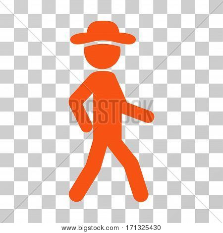 Walking Gentleman icon. Vector illustration style is flat iconic symbol orange color transparent background. Designed for web and software interfaces.