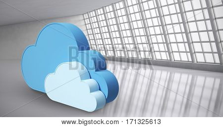 Digitally generated image of cloud shapes against abstract room 3d