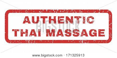 Authentic Thai Massage text rubber seal stamp watermark. Tag inside rectangular shape with grunge design and unclean texture. Horizontal vector red ink sign on a white background.