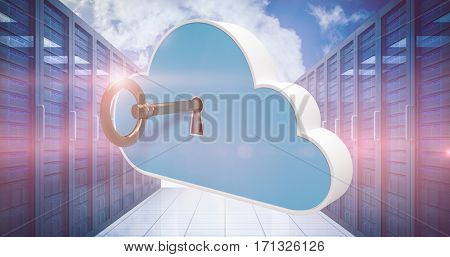Digitally generated image of blue locker in cloud shape with key against view of several locker 3d
