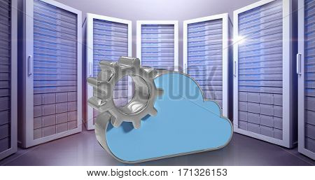 Digitally generated image of gear by cloud shape against server room 3d