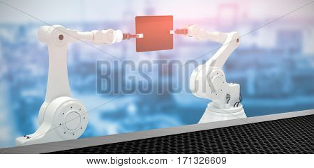 Composite image of robots with computer tablet against black metal texture 3d
