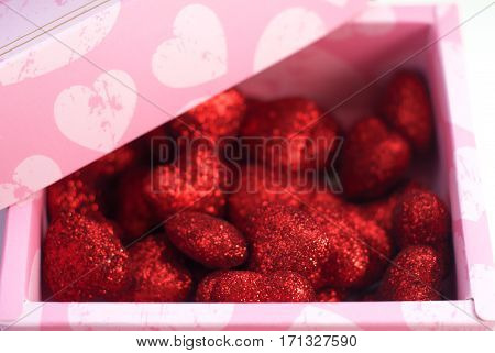 Red Decorative Hearts In Pink Box,