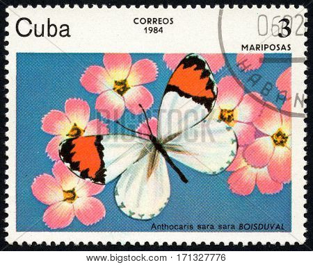 UKRAINE - CIRCA 2017: A stamp printed in Cuba shows image of a butterfly Mariposas close-up circa 1984