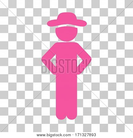 Gentleman Akimbo icon. Vector illustration style is flat iconic symbol pink color transparent background. Designed for web and software interfaces.