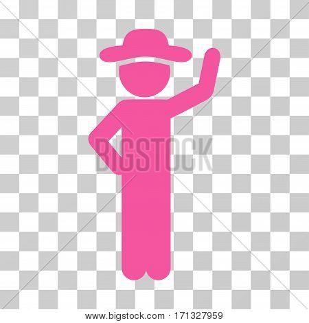 Gentleman Assurance icon. Vector illustration style is flat iconic symbol pink color transparent background. Designed for web and software interfaces.