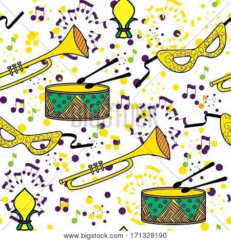 Mardi Gras or Shrove Tuesday seamless pattern. Colorful background. Vector illustration