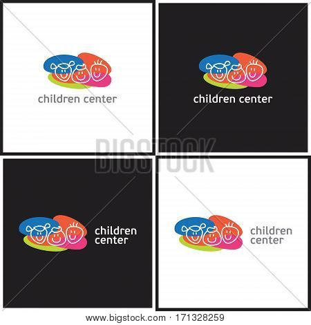 Vector eps logotype or illustration showing children education center with three kids on colorful background in outline style