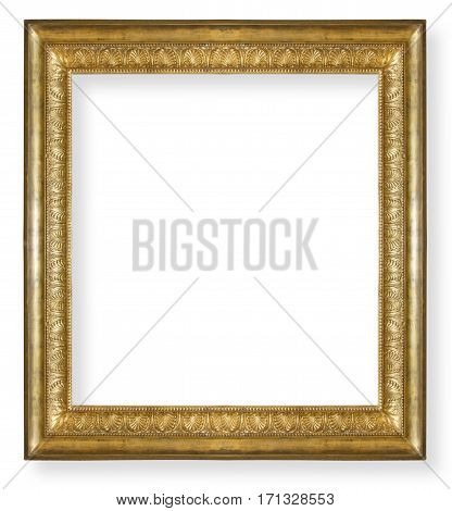 vintage gold frame isolated on white background
