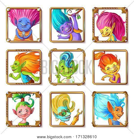 Cartoon troll characters avatars set with different hairstyle clothes and color of skin in square frames isolated vector illustration
