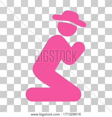 Gentleman Pray icon. Vector illustration style is flat iconic symbol pink color transparent background. Designed for web and software interfaces.