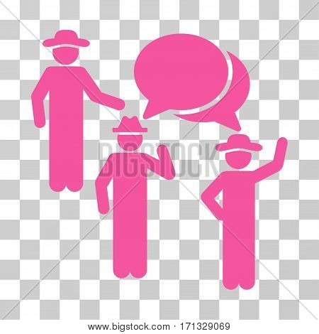 Gentlemen Discussion icon. Vector illustration style is flat iconic symbol pink color transparent background. Designed for web and software interfaces.