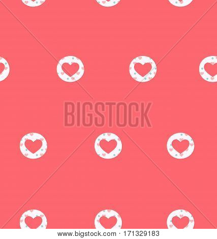 Seamless pattern with heart isolated on pink background