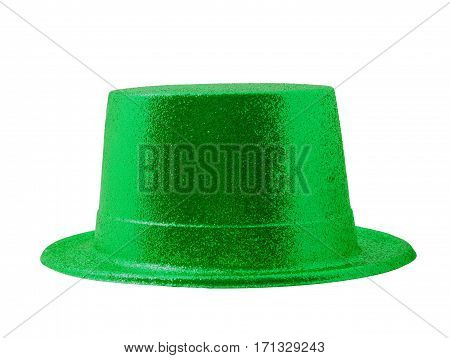 Green party hat isolated on the white background clipping path.