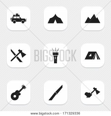 Set Of 9 Editable Trip Icons. Includes Symbols Such As Musical Instrument, Refuge, Ax And More. Can Be Used For Web, Mobile, UI And Infographic Design.