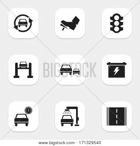 Set Of 9 Editable Transport Icons. Includes Symbols Such As Stoplight, Highway, Race And More. Can Be Used For Web, Mobile, UI And Infographic Design.