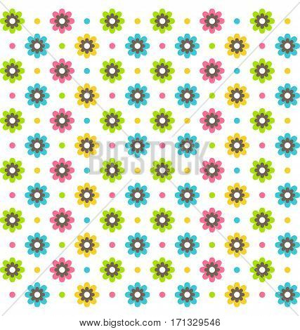 Bright fun abstract seamless pattern with flowers isolated on white background