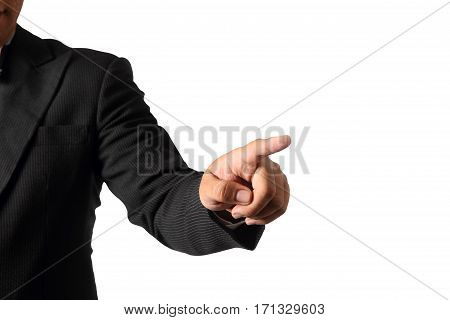Businessman hand pointing finger isolated on white background clipping path.