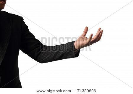 Empty businessman's hand to showing something isolated on white background with clipping path concept advertisement product.