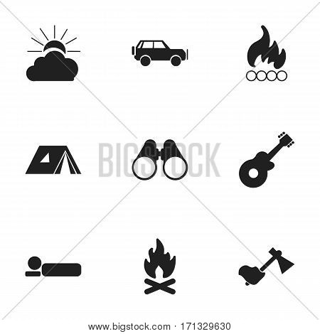 Set Of 9 Editable Travel Icons. Includes Symbols Such As Shelter, Blaze, Ax And More. Can Be Used For Web, Mobile, UI And Infographic Design.