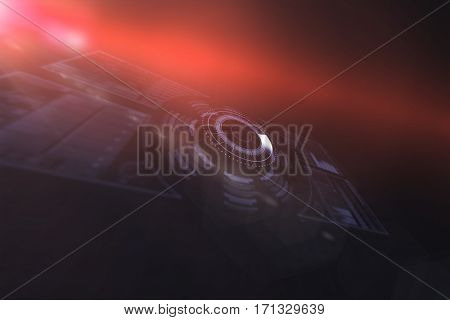 Volume knob interface over black background 3d