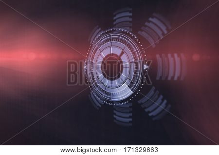 Digitally generated image of illuminated volume knob over black background 3d