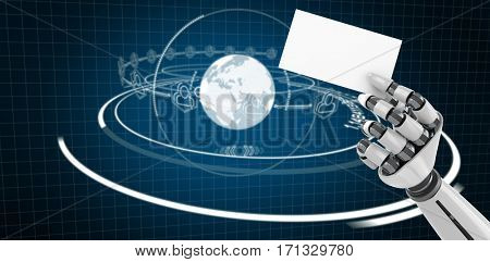 Digitally generated image of white robotic arm holding placard against blue background with vignette 3d