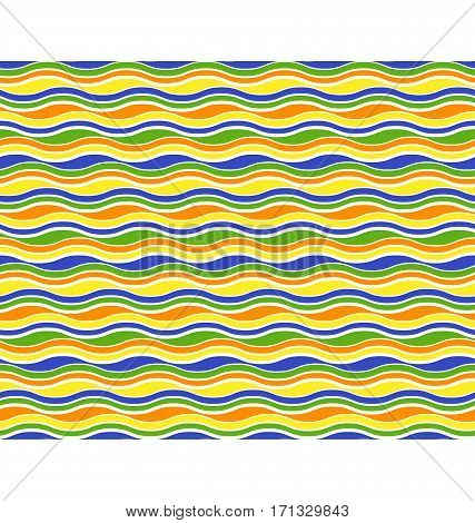 Bright fun abstract seamless horizontal wave pattern