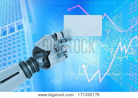 Digital composite image of white robotic arm holding placard against stocks and shares 3d