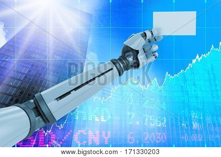 Computer graphic image of white robotic arm holding placard against stocks and shares 3d