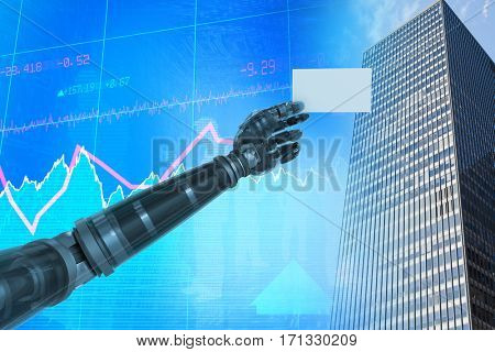 Cropped image of digital robotic arm holding blank against stocks and shares 3d
