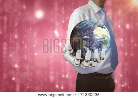 Digitally genearated image of earth against digitally generated black and blue matrix 3d