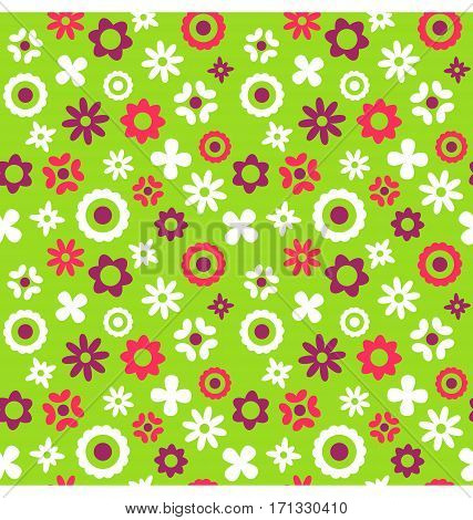 Bright Fun Abstract Seamless Pattern with Flowers Isolated on Green Background