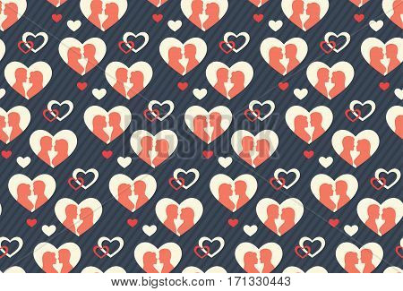 Seamless Festive Abstract Pattern with Love Couple and Hearts