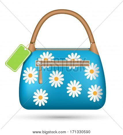 Blue woman spring bag with chamomiles flowers and sale label isolated on white background