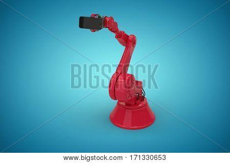 Digital generated image of robot holding smart phone against blue vignette background 3d