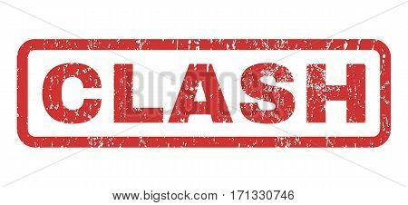 Clash text rubber seal stamp watermark. Caption inside rectangular banner with grunge design and dirty texture. Horizontal vector red ink sticker on a white background.