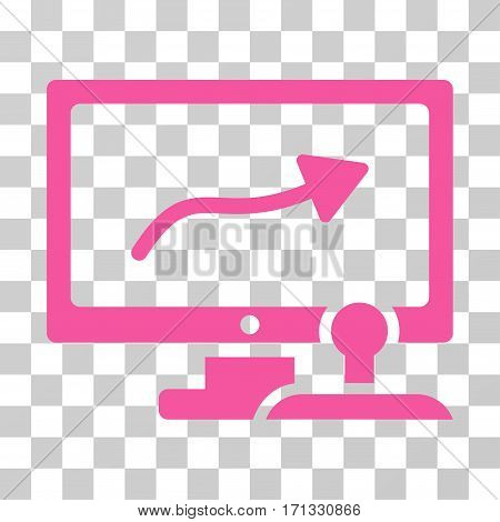 Path Control Monitor icon. Vector illustration style is flat iconic symbol pink color transparent background. Designed for web and software interfaces.