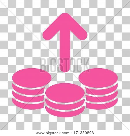 Payout Coins icon. Vector illustration style is flat iconic symbol pink color transparent background. Designed for web and software interfaces.