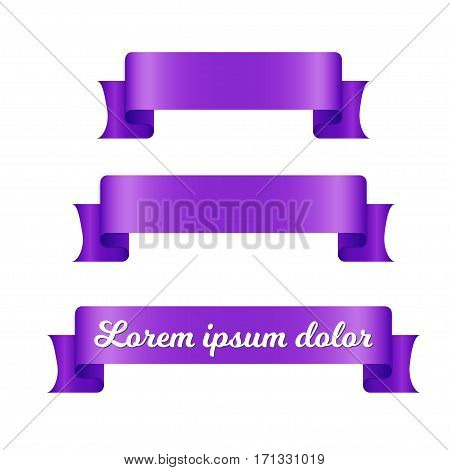 Purple ribbon banners set. Beautiful blank for decoration graphic. Old vintage style design. Premium decorative elements isolated on white background.