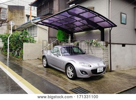 Japanese Traditional Houses With A Car At Countryside