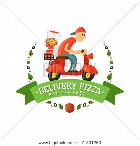 Delivery pizza badge man on scooter vector illustration. Food and drink elements typographic design label or sticker bakery. Cooking cafe menu symbol with traditional lunch delicious.