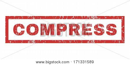 Compress text rubber seal stamp watermark. Tag inside rectangular shape with grunge design and dirty texture. Horizontal vector red ink emblem on a white background.