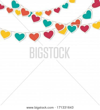 Multicolored hearts buntings garlands isolated on white background