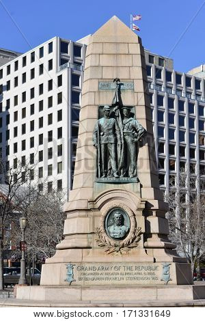 WASHINGTON, DC - NOV 17, 2012: The Grand Army of the Republic Memorial on Pennsylvania Avenue commemorates the 1861-65 Civil War