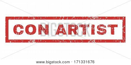 Con Artist text rubber seal stamp watermark. Caption inside rectangular shape with grunge design and dirty texture. Horizontal vector red ink emblem on a white background.