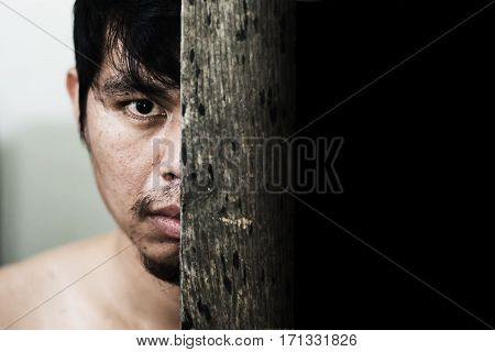 Scary Man Hide Behind Wooden Door